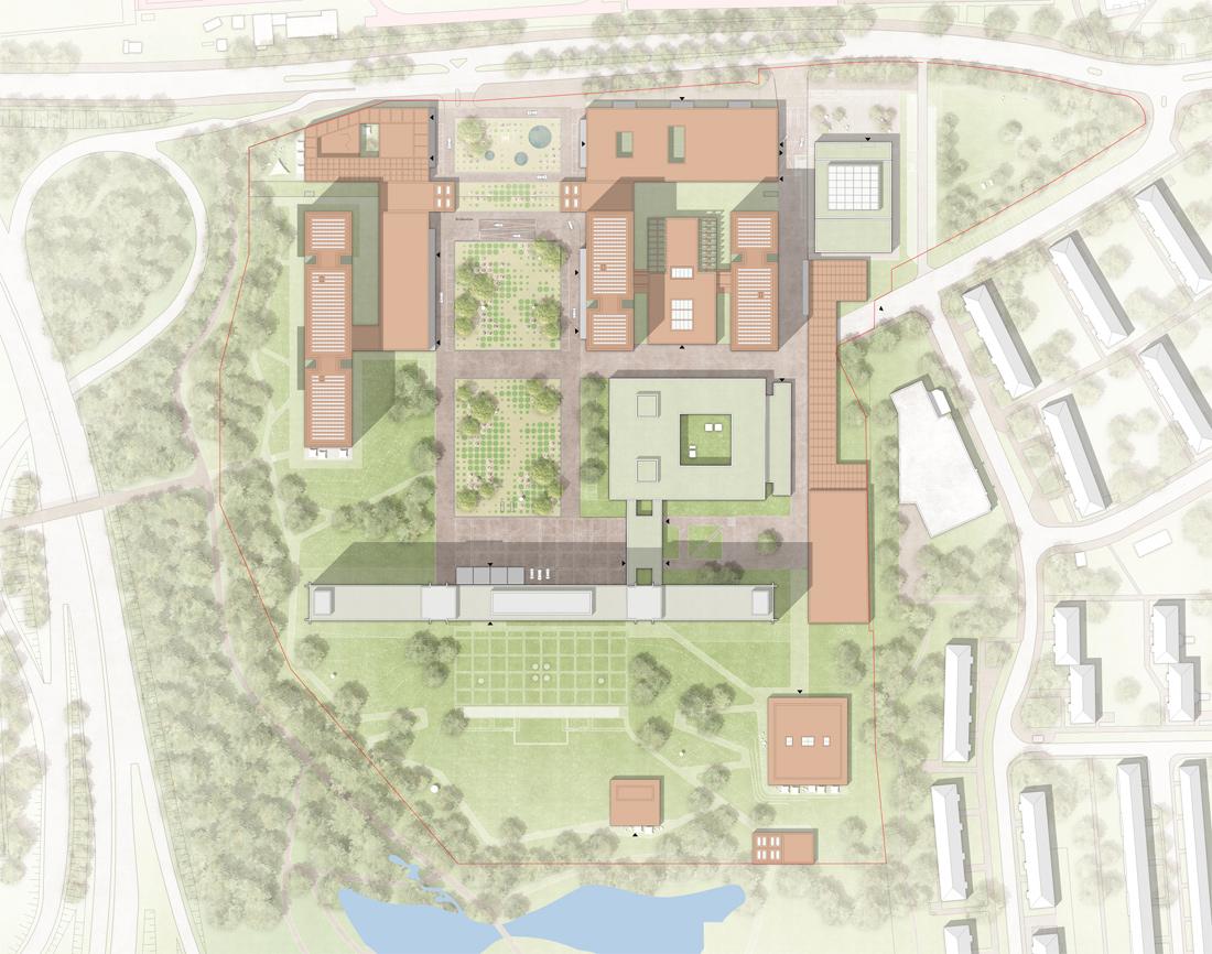 Lageplan des Bundesbank-Campus in Frankfurt am Main Kleihues